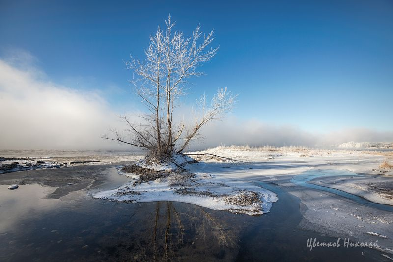 волга, туман, иней, декабрь ***photo preview