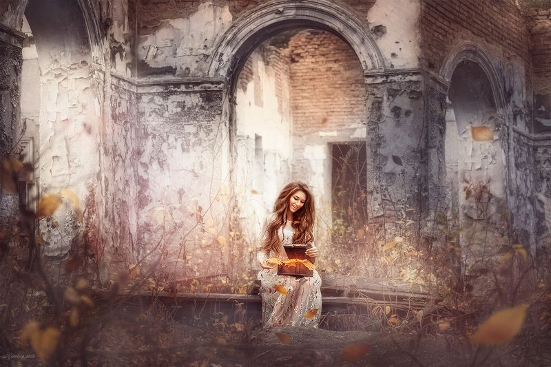 девушка, портрет, сказка, осень, замок, развалины, girl, portreit, autumn, castle, fairytale photo preview