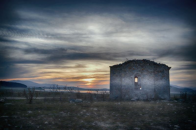 John of Rila, church, dam, t. Ivan Rilski, Bulgaria, Jrebchevo, landscape, sunset, Иоанн Рильский, церковь, Болгария, пейзаж, закат, \