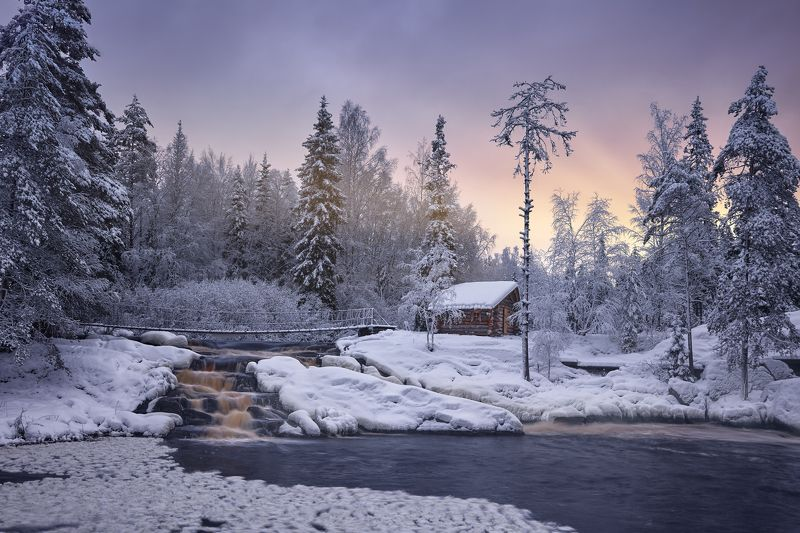 карелия, тохмайоки, ахвенкоски, рускеала, зима, рассвет Шёпот Тохмайокиphoto preview