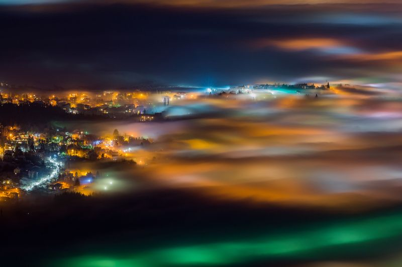 fog, foggy, city, lights, nights, landscape Foggy Sofiaphoto preview