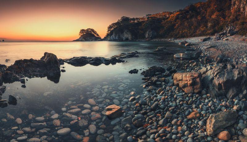 панорама, осень, скалы, море, утро ***photo preview