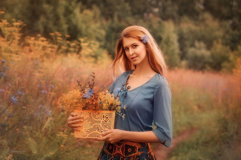 девушка, портрет, лето, закат, girl, portreit, summer, sunset photo preview