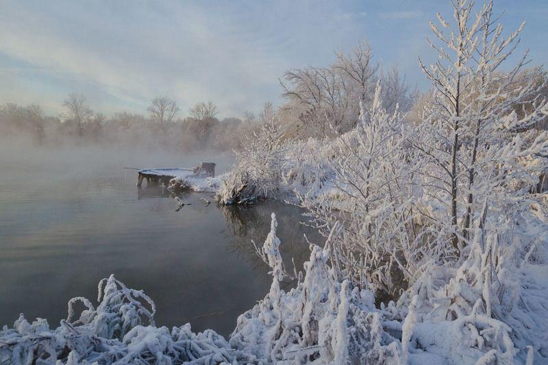 утро, зима, декабрь, озеро, горячка Белые берега декабряphoto preview