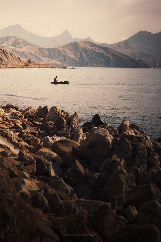 черное море, горы, лодка, photo preview