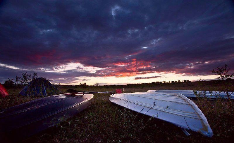 kayak, байдарка, пейзаж, небо, закат Kayakphoto preview