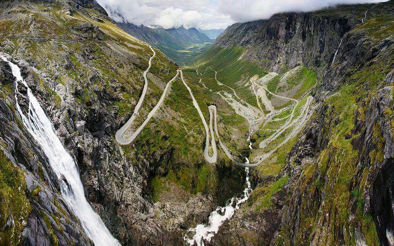 горы, дорога, водопад, норвегия Тропа троллейphoto preview