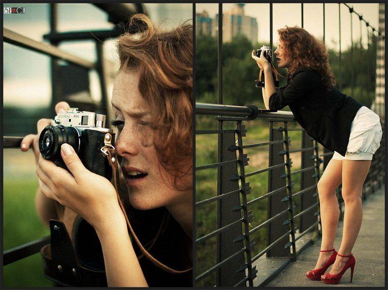 улица, лето, девушка, фотограф, зоркий Фотографиня :)photo preview