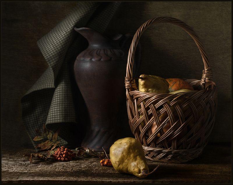 груша, корзина, кувшин, натюрморт ***photo preview