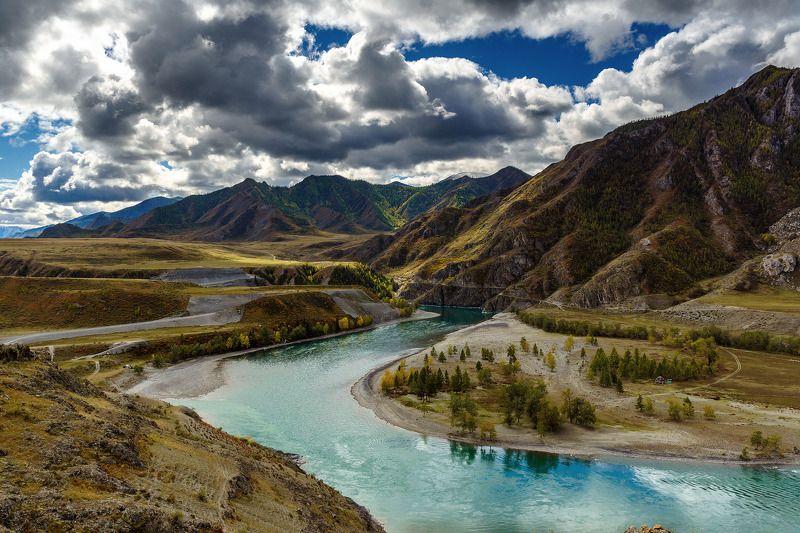пейзаж, горы, река, осень, Горный Алтай Слияние Катуни и Чуи photo preview