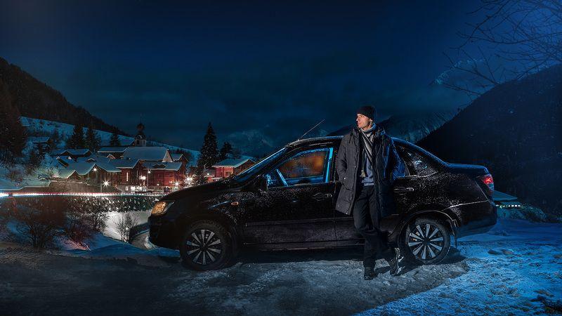 снег,ночь,вспышки,коллаж Lada Grantaphoto preview
