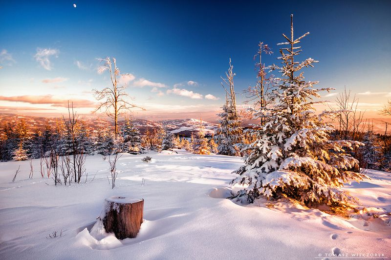 mountains, poland, polish, silesia, winter, snow, moon, sunset, sunrise, frozen, cold, colours, trees, awesome, adventure, travel, beautiful Meeting with the moon фото превью