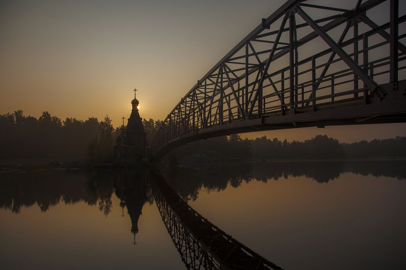 церковь, утро, туман, река, вода, небо, осень, мост ***photo preview
