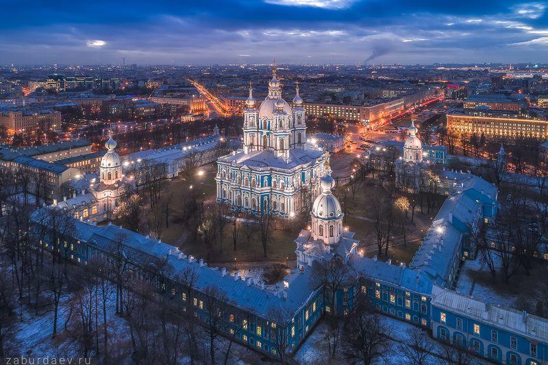 россия, петербург, вечер, зима, собор, аэрофотосъемка, дрон, снег Смольный соборphoto preview