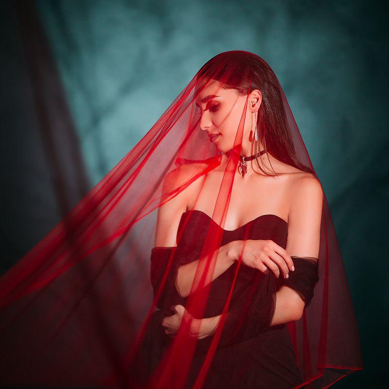witch, blood, red, dress, shadow, girl, portrait, портрет, ведьма, красный, платье, кровь, арт, art Witch bloodphoto preview