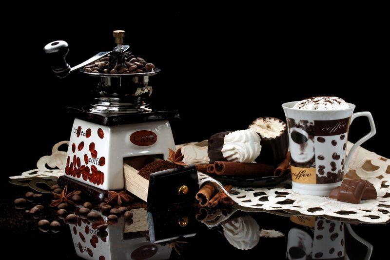 кофемолка, кофе, специи, чашка, зефир, шоколад Кофемолкаphoto preview