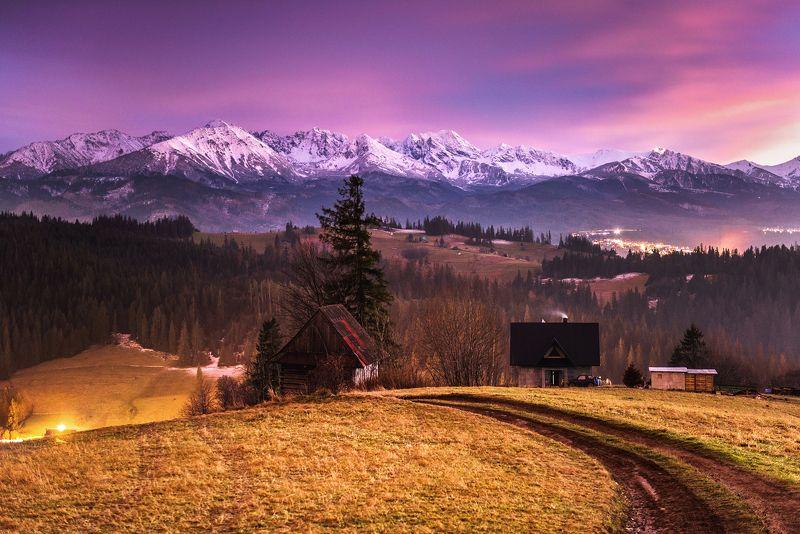 mountains, poland, tatry, light, sunset, sun, light, landscape, hills, warm, colors, winter, snow, Duskphoto preview