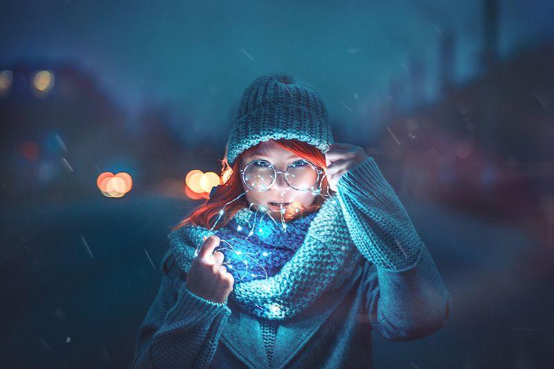 неон девушка огни город Cityphoto preview