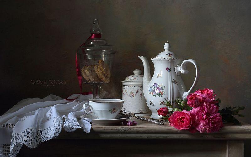 чайник, чай, печенье, розы, букет, посуда, фарфор, чашка, Утро в Провансеphoto preview