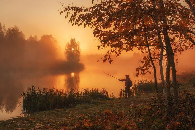 наедине c природой, утро, осень, туман, рассвет, октябрь, рыбалка, минск, беларусь Наедине с природойphoto preview