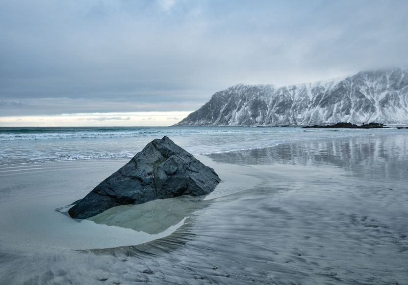 lofoten, beach, winter The lonely stonephoto preview