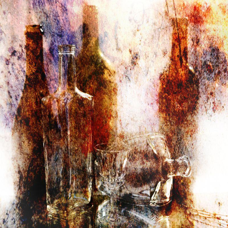 фото , цвет , натюрморт , бутылки , рюмка , стекло , текстура , квадрат Натюрморт с бутылками и рюмкой 2photo preview