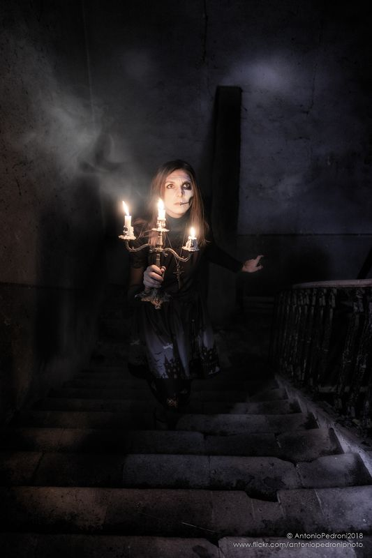 candle, dark, stairway, model, modella, urbex, portrait, halloween the night is dark and full of terrorsphoto preview