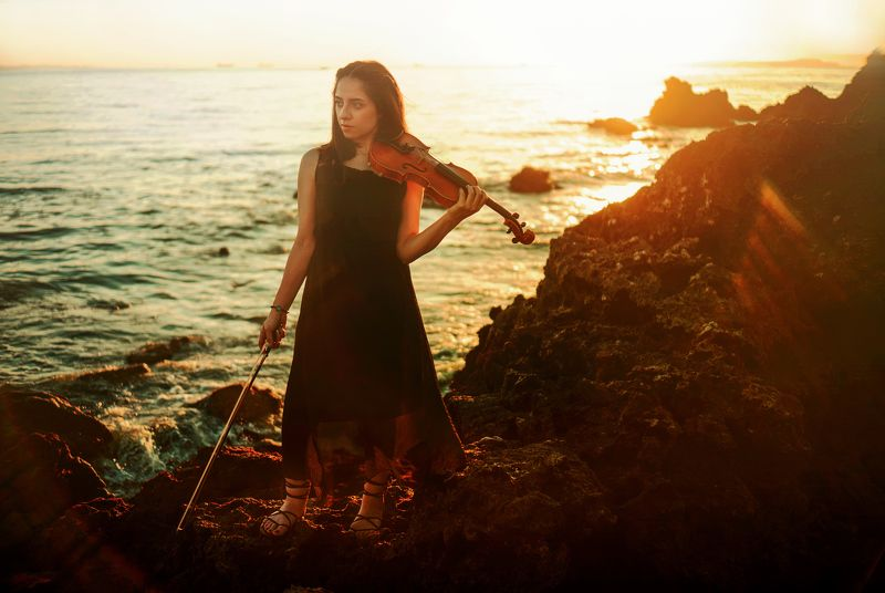 portrait fine art girl sea model sunset color She passed away alone at seaphoto preview