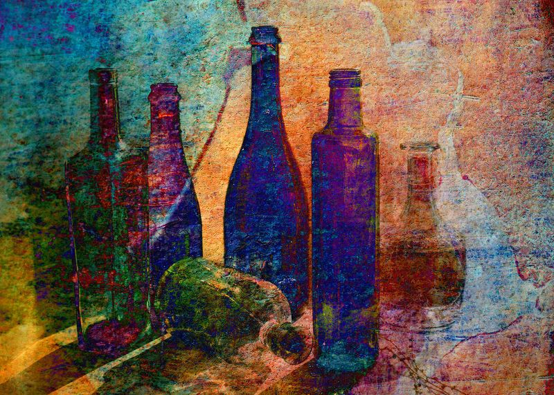 фото , цвет , экспрессия , натюрморт , стекло , бутылки Экспрессивный натюрморт с бутылками ...photo preview