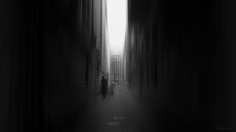 питер, черно-белое, настроение, ч/б, человек, mood, b/w, city, conceptual. Один в ущелье.photo preview