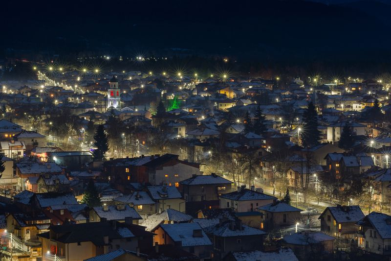 snow, night, light, city, landscape, mountain Snowy photo preview