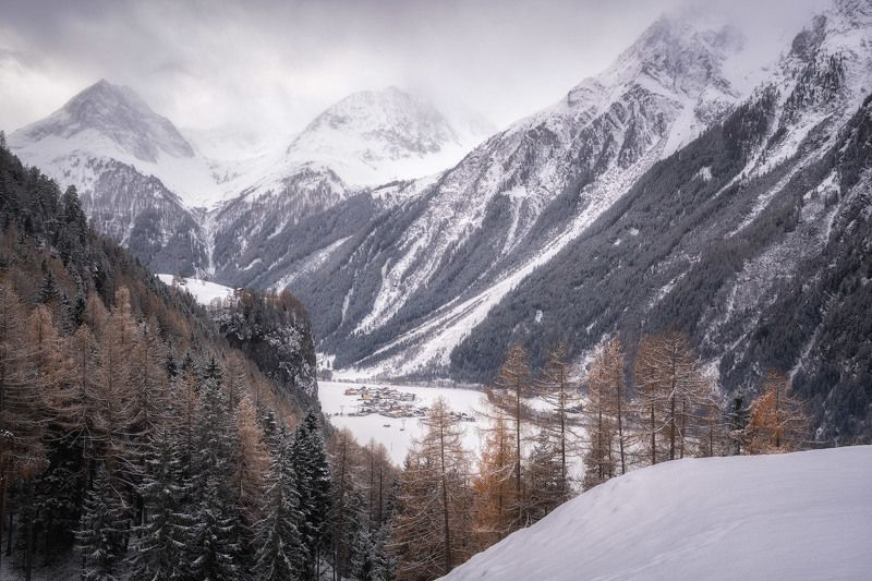 alps, astlehn, austria, austrian alps, barn, brand, brandalm, burgstein, burgstein cliff, burgsteiner wand, cliff, cloudy, fog, foggy, footsteps, forest, houses, landscape, larch, larch forest, larch trees, larches, ludwig riml  photography, längenfeld, m Place of Birthphoto preview
