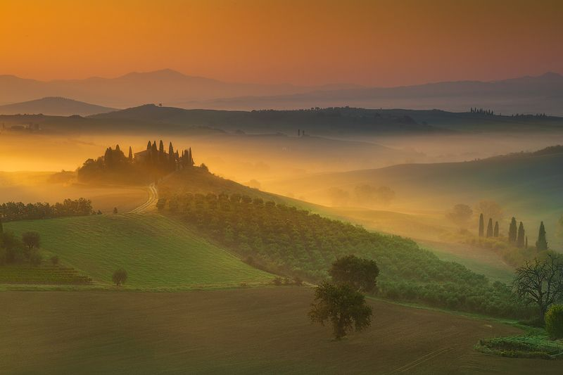 tuscany, italy, morning Podere Belvederephoto preview