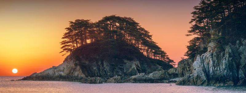 панорама, море, скалы, утро, солнце ***photo preview