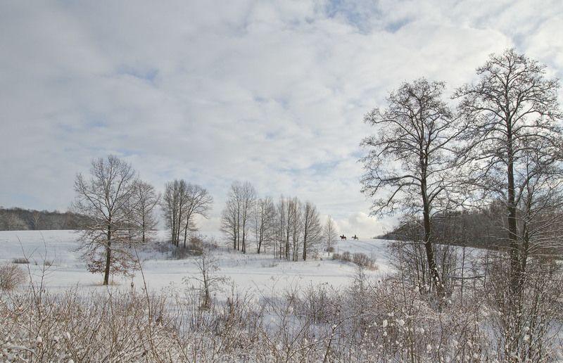 зима, ясная поляна, всадники, природа Всадникиphoto preview