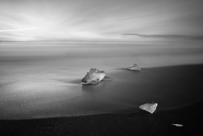 Iceland, seascape, long exposure, sunrise, ice, iceberg, black sand * * *photo preview