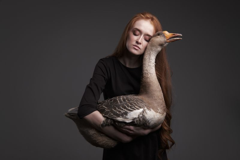 girl, portrait, redhead, goose Annaphoto preview