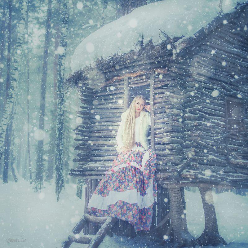 девушка, портрет, зима, ведьма, сказка, избушка, girl, portreit, winter, russian style, fairy tale photo preview
