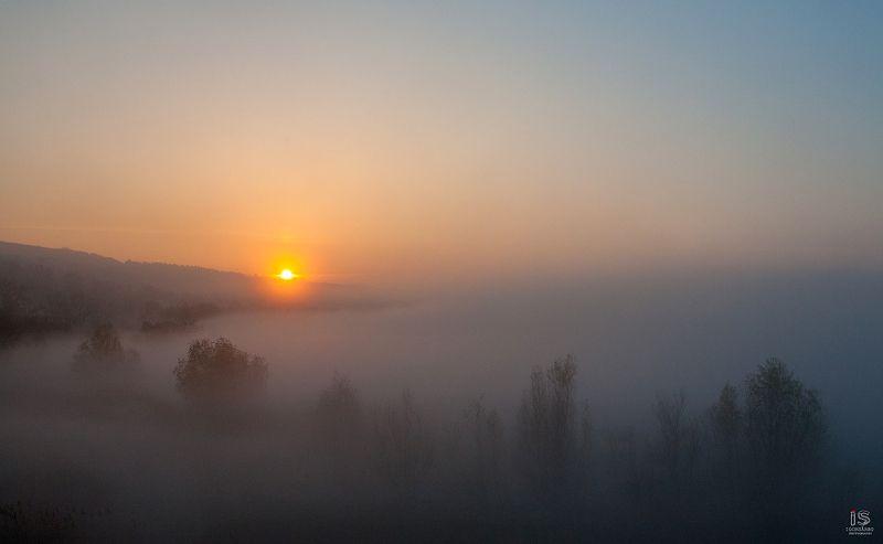 Sunrise in fogphoto preview