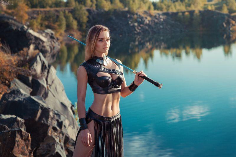 амазонка, амазонки, воительница, воин, копье, девушка воин, amazons, amazon, лук, стрелы, горы, озеро, меч, девушка с мечом Амазонкаphoto preview