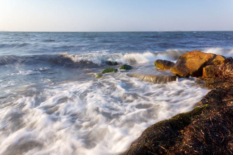 море, закат, вода, пейзаж, волны Воды Таманского заливаphoto preview