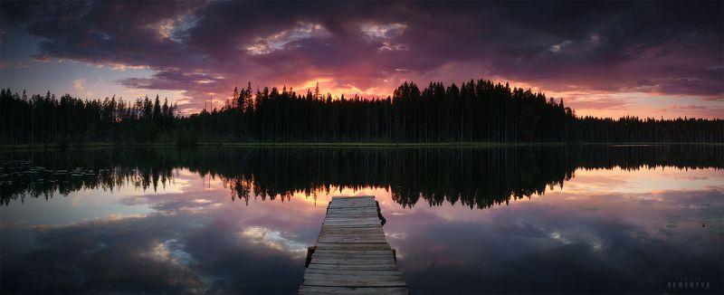 карелия, озеро, закат, лето, исо-ярви, мостки, причал, небо, облака, пожар, karelia, lake,dusk, skyfire, panoramic, pier. У кромки заката.photo preview