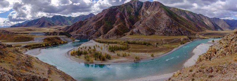 пейзаж, осень,горы, река, Горный Алтай Слияние Чуи и Катуни photo preview