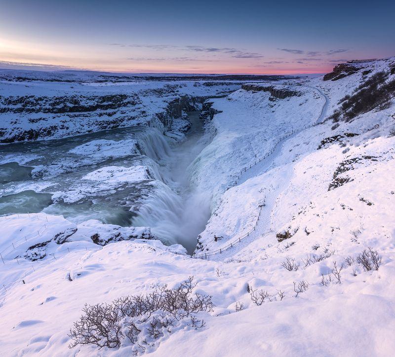 Gullfoss waterfall. Sunrise. Gullfoss waterfall. Sunrise.photo preview