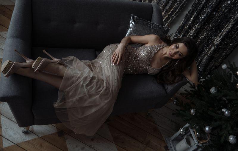 новогодняя, огни, блеск, девушка, красота Аннаphoto preview