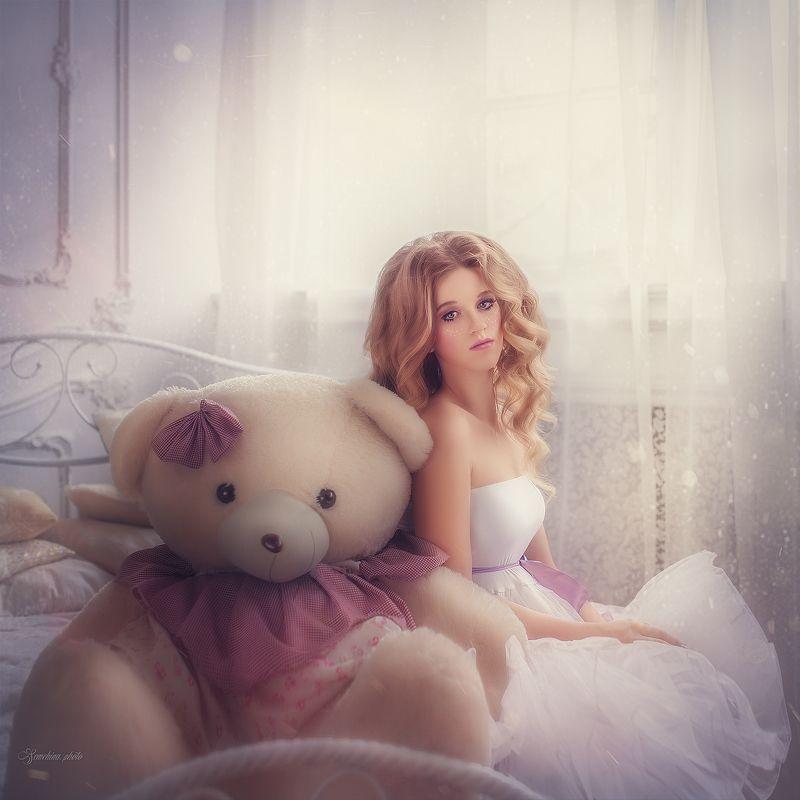девушка, портрет, сказка, медведь, girl, portrait, magic, mood, teddy bear photo preview