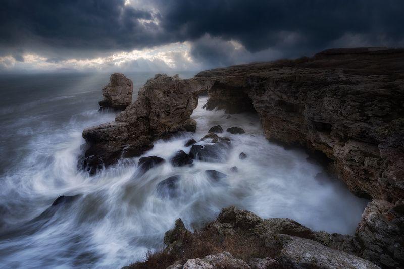 sea rocks windy cloudy sea water waves morning bulgaria blacksea Angry .....photo preview