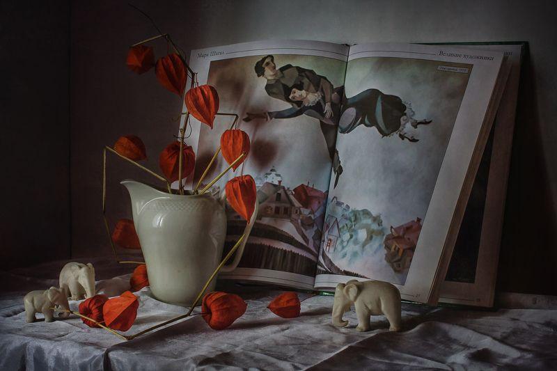 натюрморт, фарфор, физалис, животные, кот, статуэтка Шагалphoto preview