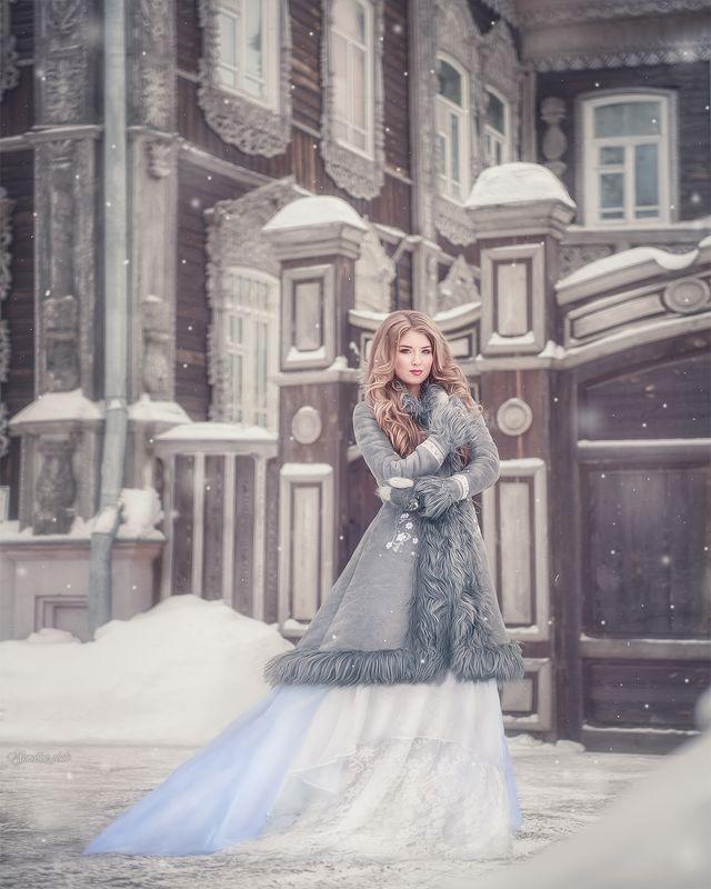 девушка, портрет, зима, русский стиль, винтаж, girl, portrait, vintage, russian style photo preview
