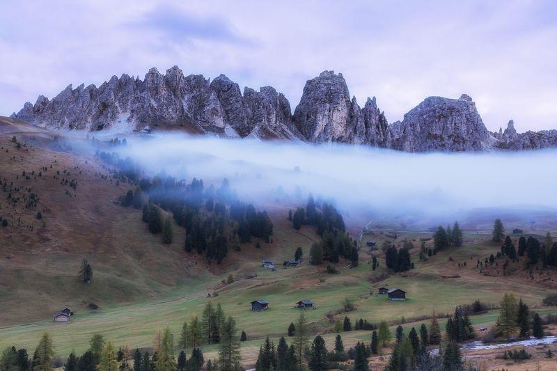 доломиты, горы, осень, туман Вечерphoto preview